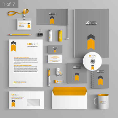 stationary set: Gray stationery template design with orange arrow. Documentation for business. Illustration