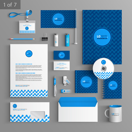 documentation: Blue stationery template design with geometric pattern. Documentation for business. Illustration