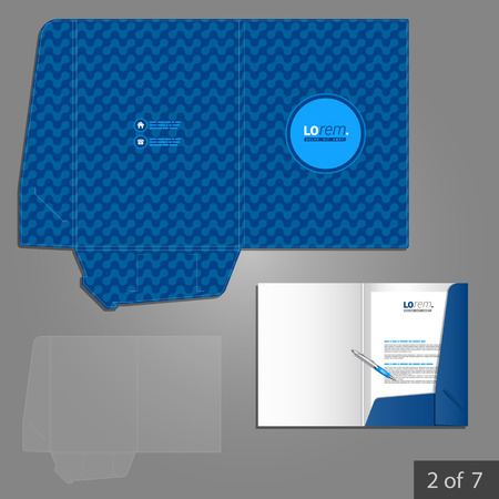 folder: Blue folder template design for company with geometric pattern. Element of stationery.