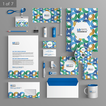 documentation: Blue stationery template design with round pattern. Documentation for business.