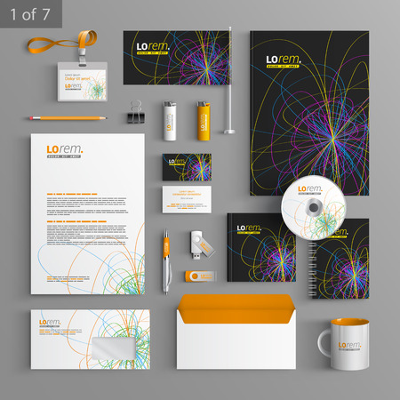 documentation: Black stationery template design with art color lines. Documentation for business. Illustration