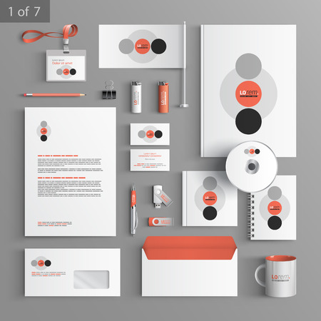 branding: White corporate identity template design with red and gray round elements. Business stationery