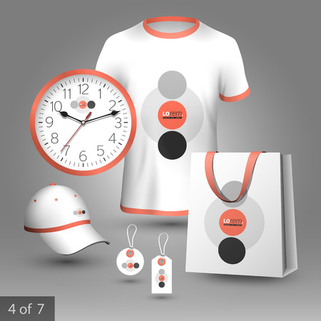 souvenirs: White promotional souvenirs design for corporate identity with red and gray round elements. Stationery set