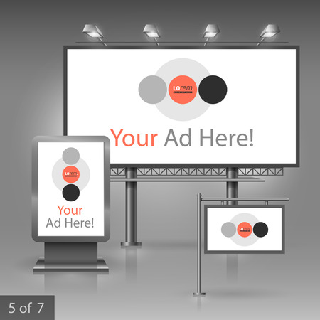 White outdoor advertising design for corporate identity with red and gray round elements. Stationery set