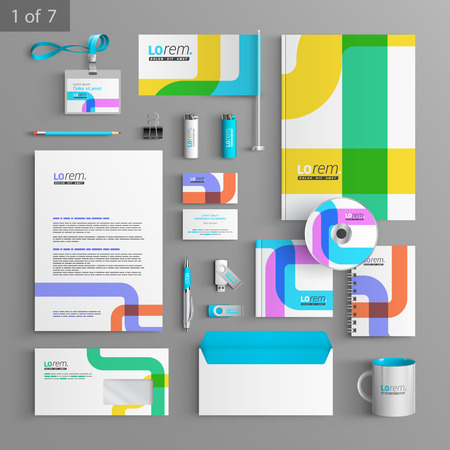 identities: Creative corporate identity template design with color art elements. Business stationery Illustration