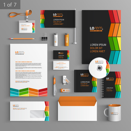 Black corporate identity template design with color square elements. Business stationery
