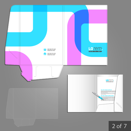 adverts: Creative folder template design for corporate identity with color art elements. Stationery set