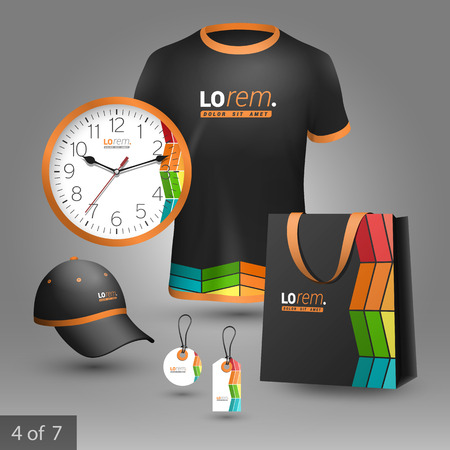 souvenirs: Black promotional souvenirs design for corporate identity with color square elements. Stationery set Illustration