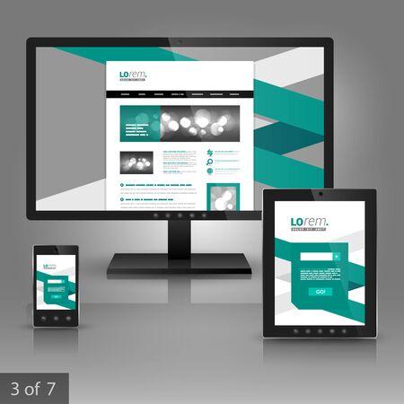 rayas: diseño de plantilla de aplicación de la identidad corporativa blanca con franja verde. montaje de papelería Vectores