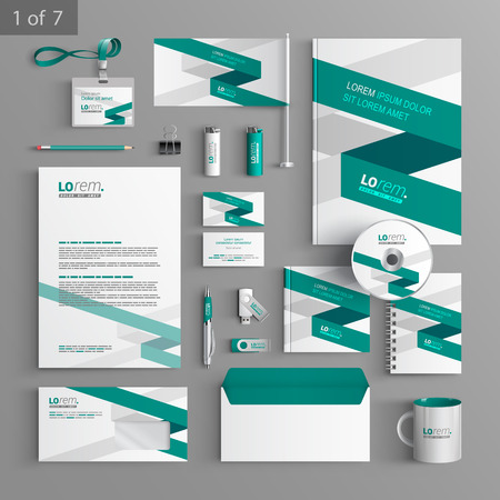 stationary set: White corporate identity template design with green stripe. Business stationery