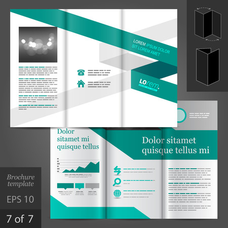 booklet: White brochure template design with green stripe. Cover layout