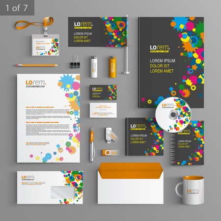 stationary set: Creative black corporate identity template design with color art elements. Business stationery