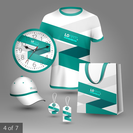 souvenirs: White promotional souvenirs design for corporate identity with green stripe. Stationery set