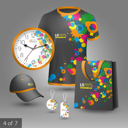 Creative black promotional souvenirs design for corporate identity with color art elements. Stationery set