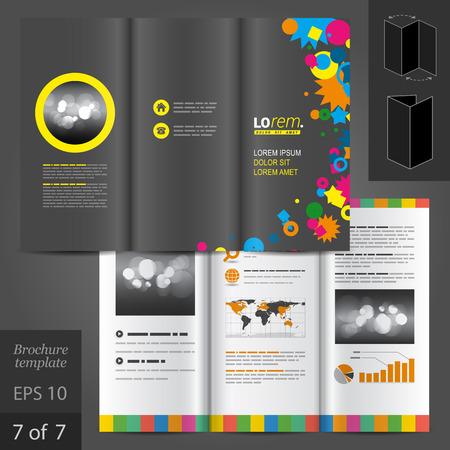 creative black brochure template design with color art elements