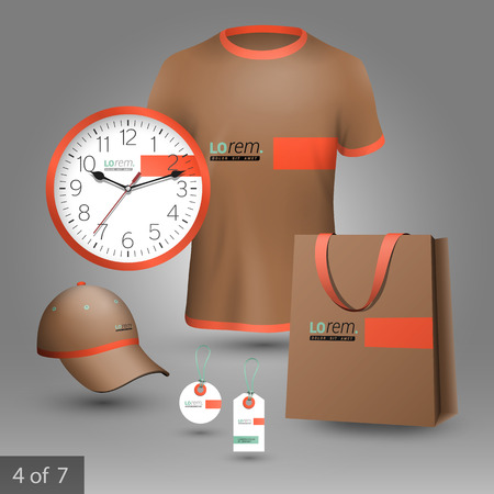 souvenirs: Brown promotional souvenirs design for corporate identity with green and orange elements. Stationery set