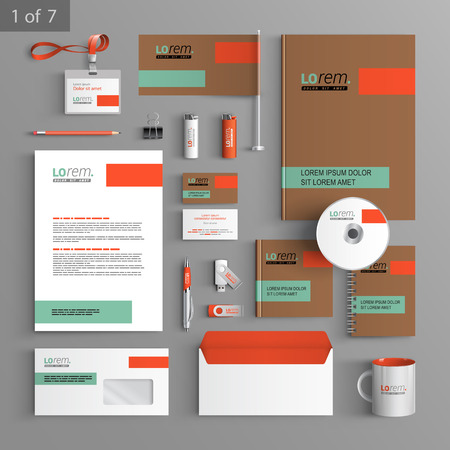 Brown corporate identity template design with green and orange elements. Business stationery Ilustração