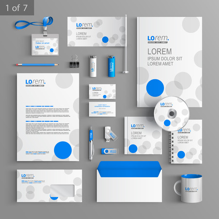 White corporate identity template design with blue and gray circles. Business stationery Illustration