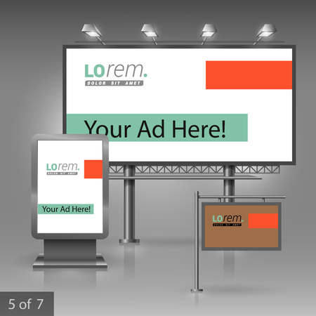 outdoor advertising: Brown outdoor advertising design for corporate identity with green and orange elements. Stationery set