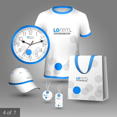 souvenirs: White promotional souvenirs design for corporate identity with blue and gray circles. Stationery set
