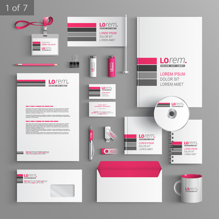 gray cards: White corporate identity template design with pink and gray lines. Business stationery