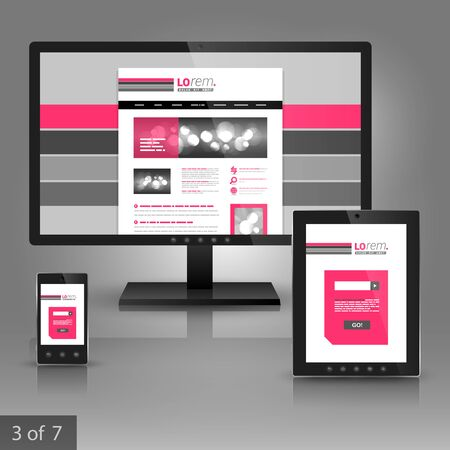 White application template design for corporate identity with pink and gray lines. Stationery set Vector