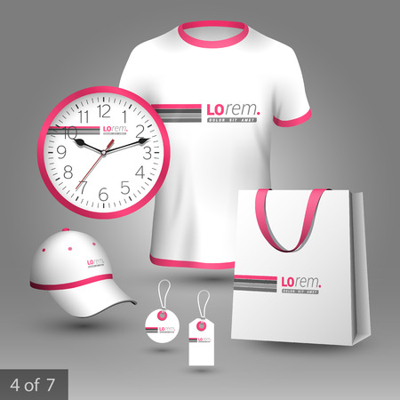 souvenirs: White promotional souvenirs design for corporate identity with pink and gray lines. Stationery set Illustration