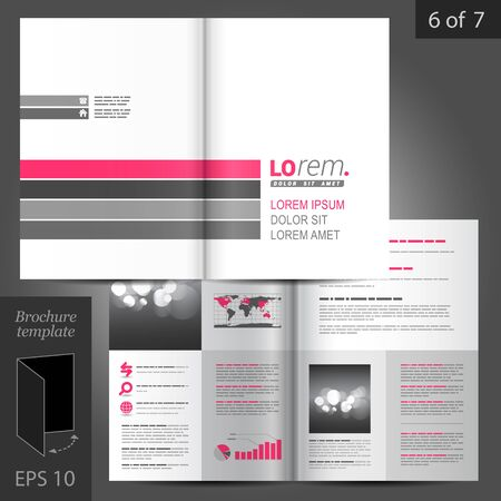 catalog: White brochure template design with pink and gray lines. Cover layout Illustration