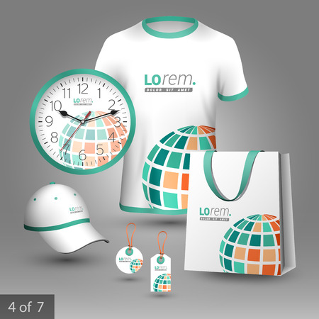 souvenirs: White promotional souvenirs design for corporate identity with green digital globe. Stationery set Illustration