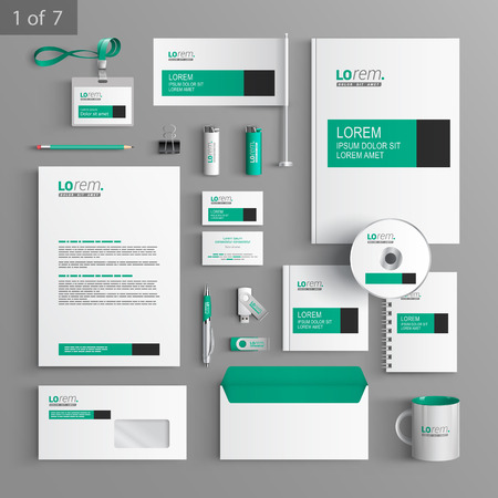 brand: White classic corporate identity template design with green and black square elements. Business stationery