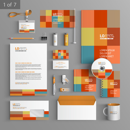leaflet: Color corporate identity template design with square elements. Business stationery
