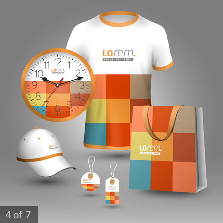 souvenirs: Color promotional souvenirs design for corporate identity with square elements. Stationery set