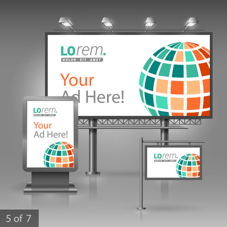 White outdoor advertising design for corporate identity with green digital globe. Stationery set
