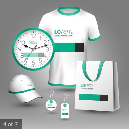 souvenirs: White classic promotional souvenirs design for corporate identity with green and black square elements. Stationery set Illustration