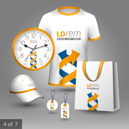 souvenirs: White promotional souvenirs design for corporate identity with blue and yellow arrows in the form of DNA. Stationery set Illustration