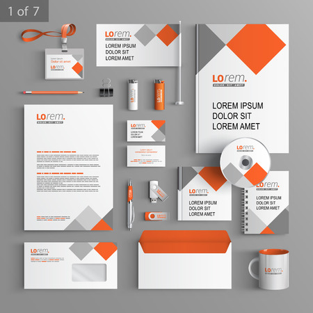 White corporate identity template design with red and gray square elements. Business stationery
