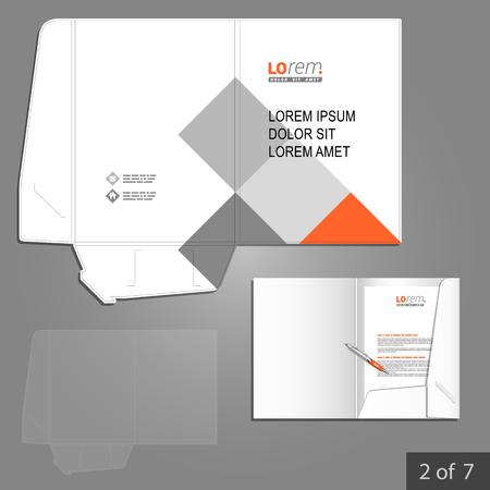 White folder template design for corporate identity with red and gray square elements. Stationery set