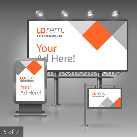billboards: White outdoor advertising design for corporate identity with red and gray square elements. Stationery set