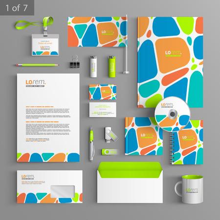 色の幾何学的な要素を持つ創造的なコーポレートアイデンティティ テンプレート デザイン。業務用便箋  イラスト・ベクター素材