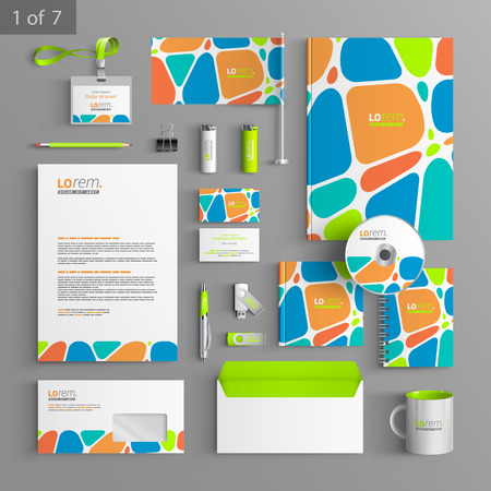 headline: Creative corporate identity template design with color geometric elements. Business stationery Illustration