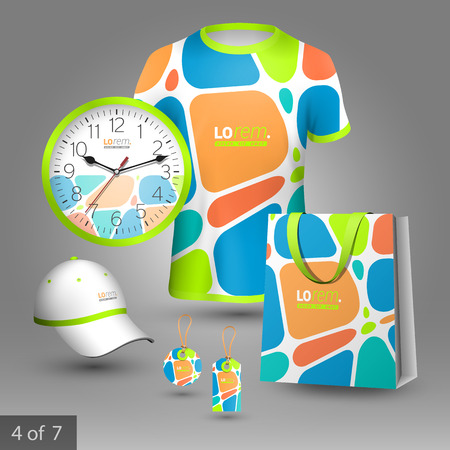 tshirts: Creative promotional souvenirs design for corporate identity with color geometric elements. Stationery set