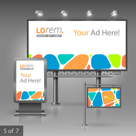 outdoor advertising: Creative outdoor advertising design for corporate identity with color geometric elements. Stationery set