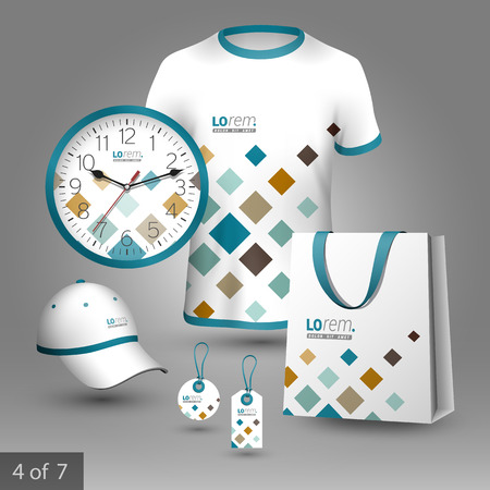 souvenirs: White promotional souvenirs design for corporate identity with geometric pattern. Stationery set