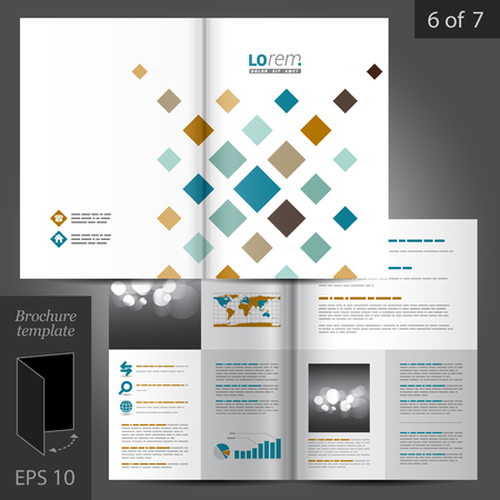 catalog templates: White brochure template design with geometric pattern. Cover layout