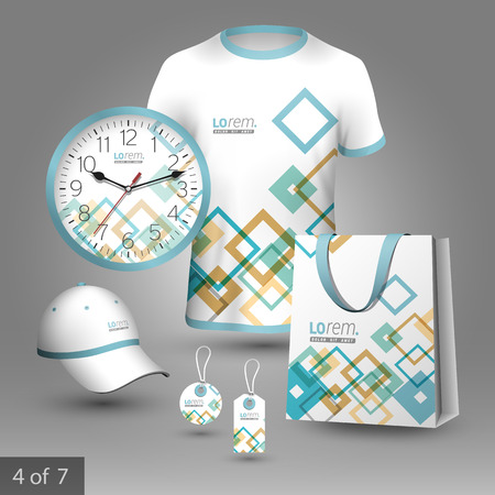 souvenirs: Colorful promotional souvenirs design for corporate identity with square geometric elements. Stationery set
