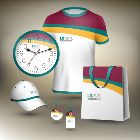 souvenirs: Classic white promotional souvenirs design for corporate identity with color waves. Stationery set