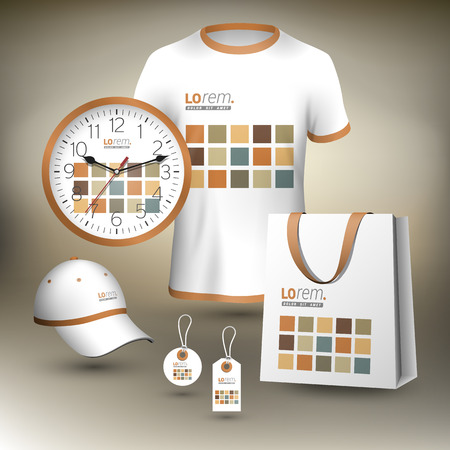 souvenirs: White promotional souvenirs design for corporate identity with square geometric elements. Stationery set Illustration