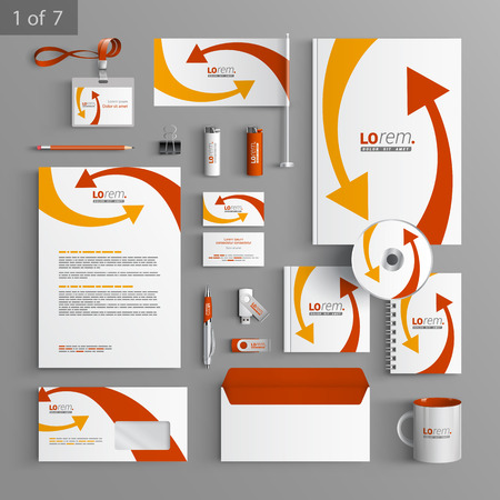 White corporate identity template design with red and yellow arrows. Business stationery