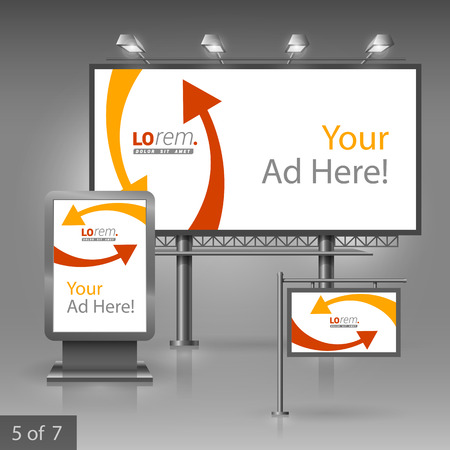 publicity: White outdoor advertising design for corporate identity with red and yellow arrows. Stationery set