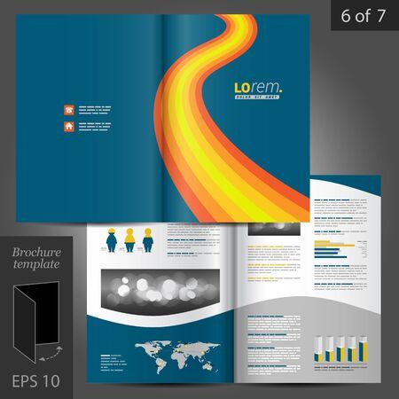 folleto: Dise�o del modelo del folleto azul con las ondas de color naranja. Dise�o de la cubierta